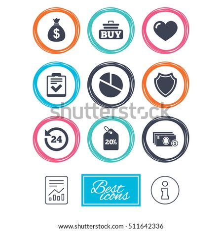 Online shopping, e-commerce and business icons. Checklist, like and pie chart signs. Money bag, discount and protection symbols. Report document, information icons. Vector