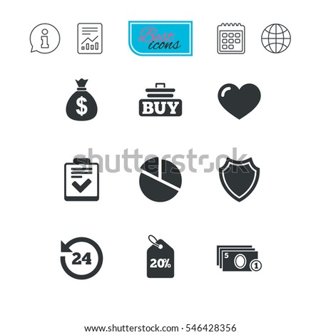 Online shopping, e-commerce and business icons. Checklist, like and pie chart signs. Money bag, discount and protection symbols. Report document, calendar and information web icons. Vector