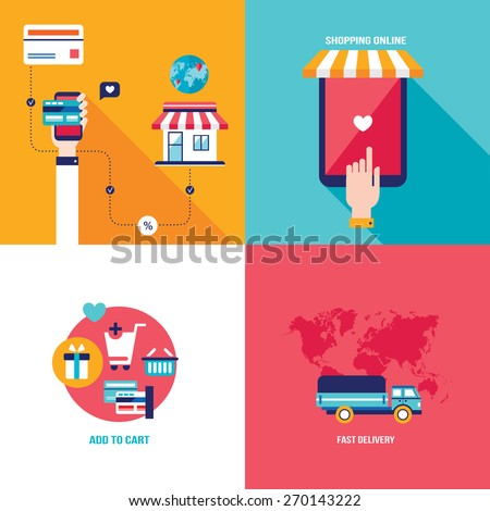 Online shopping e-commerce mobile payment and successful business concept banner set - stock vector