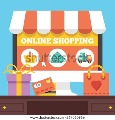 Online shopping. Electronic retail concept. Creative vector illustration. - stock vector
