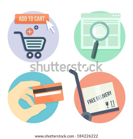 online shopping flat design icons for online shop, add to bag, payment methods and delivery - stock vector