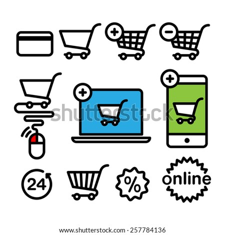 Online shopping icons. Set pictogram supermarket services - stock vector