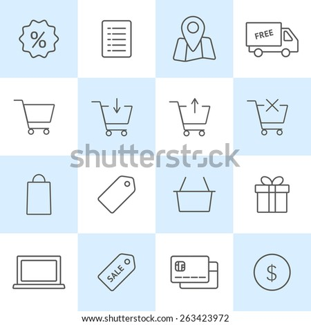 Online shopping icons set. Vector outline symbols on colored squares. Set of shopping cart, basket and bag, delivery, sale, map - stock vector