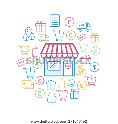 Online shopping icons set. Vector outline symbols. Set of shopping cart, basket and bag, delivery, sale, map and other - stock vector