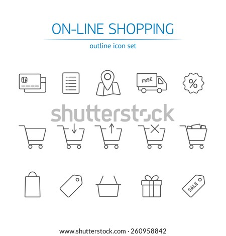 Online shopping icons set. Vector outline symbols with blue fill. Set of shopping cart, basket and bag, delivery, sale, map - stock vector