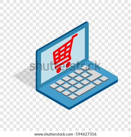 Online shopping in laptop isometric icon 3d on a transparent background vector illustration