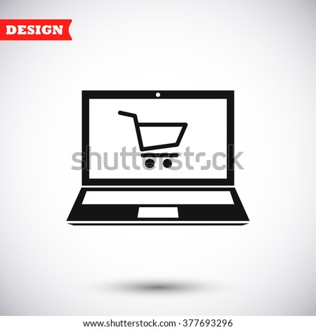 Online shopping, laptop icon, online shopping, laptop pictograph, online shopping, laptop web icon, online shopping, laptop icon vector, online shopping, laptop icon eps, online shopping - stock vector
