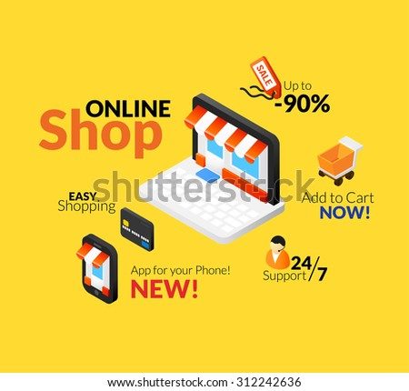 Online shopping logo set, internet store with web interface and app for your phone, on line support, easy shop with credit card - stock vector