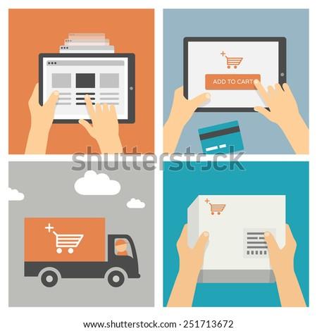 Online shopping on mobile device / tablet - Set of modern flat design illustrations - stock vector