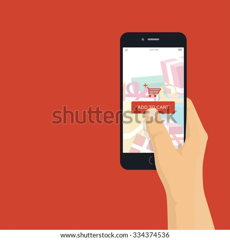Online shopping on mobile phone - man holding mobile phone with add to cart button, flat design illustration - stock vector