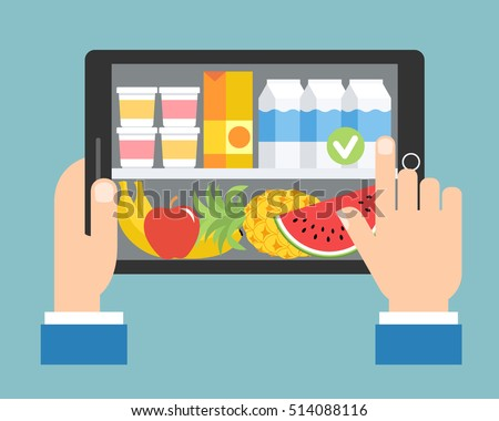 Online shopping. Order food by tablet. Vector illustration in flat design.