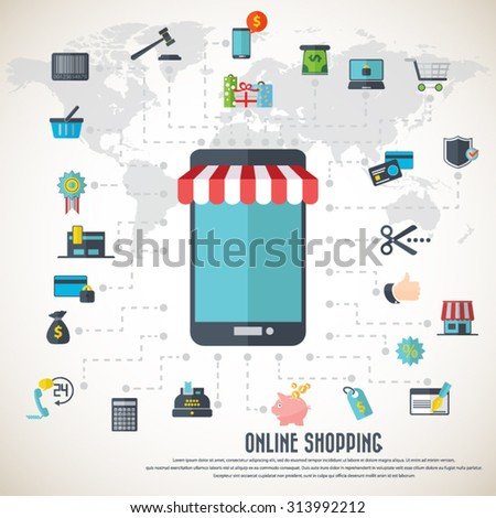 Online shopping smart phone awning various stock vector 313992212 online shopping smart phone with awning various icon set and detailed world map gumiabroncs Gallery