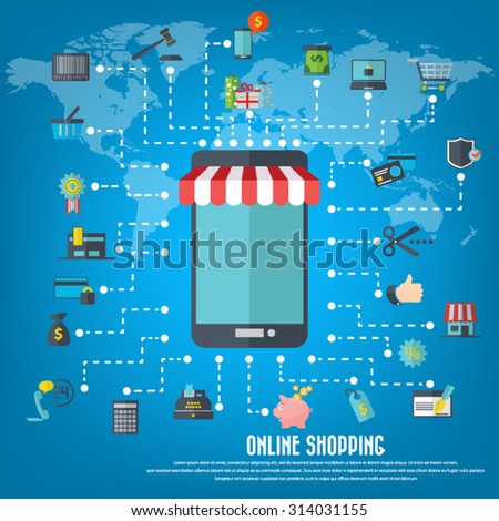 Online shopping smart phone awning various stock photo photo online shopping smart phone with awning various icon set and detailed world map gumiabroncs Gallery