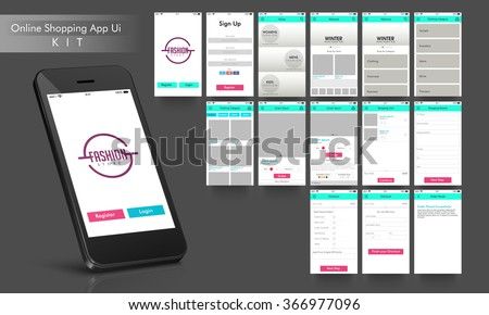 Online Shopping UI, UX and GUI  layout for e-commerce responsive website and mobile apps including Home, Sign-Up, Product Category, Order Placed and Checkout screens. - stock vector