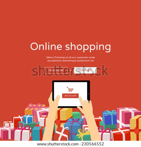 Online shopping with christmas gifts around - man hands holding tablet with add to cart button, flat design illustration - stock vector