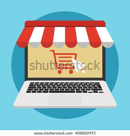 online store concept illustration laptop monitor stock photo photo rh shutterstock com Fournisseur Clip Art Mobile Smartphone Clip Art