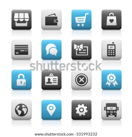 Online Store Icons // Matte Series - stock vector