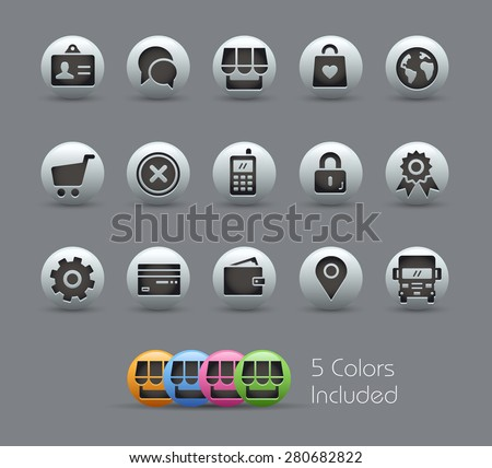 Online Store Icons // Pearly Series - stock vector