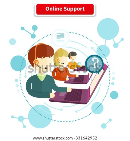 Online support. 24h all the time customer support center via phone mail operator service icons concept. Support, online chat, online help, online, live chat, live support, customer service - stock vector