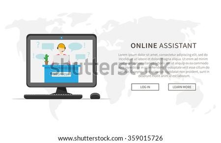 Online support service centre. Customer helpdesk assistance. Online operator (assistant). Vector design webpage template. - stock vector