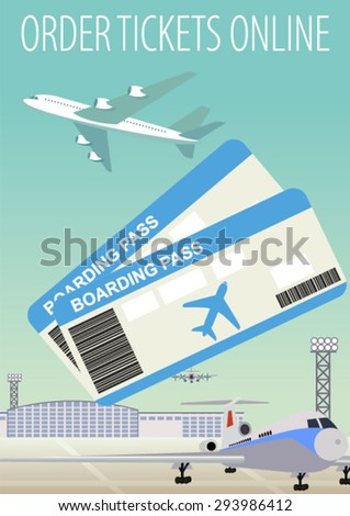 Online ticket booking ordering and boarding pass and  Airplane Airport  - stock vector
