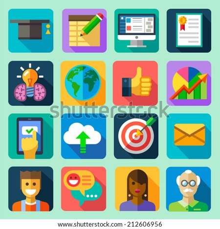 Online training. Vector flat icon set: hat, computer, tablet, diploma, certificate, globe, schedule, idea, download, cloud, target letter, message, professor, teacher, students, chat, communication - stock vector