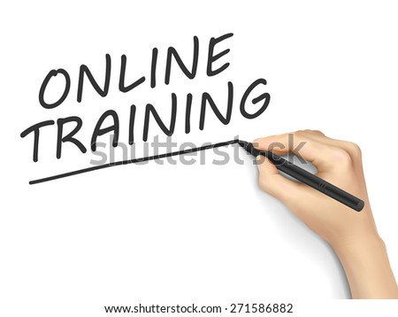online training words written by hand on white background - stock vector