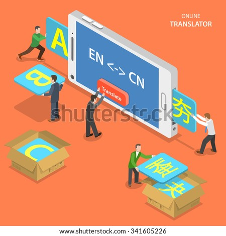 Online translator isometric flat vector concept. People are translating from English to Chinese using mobile phone. - stock vector