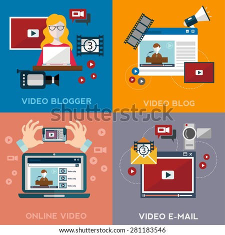 Online video email design concept set with blogger media flat icons isolated isolated vector illustration - stock vector