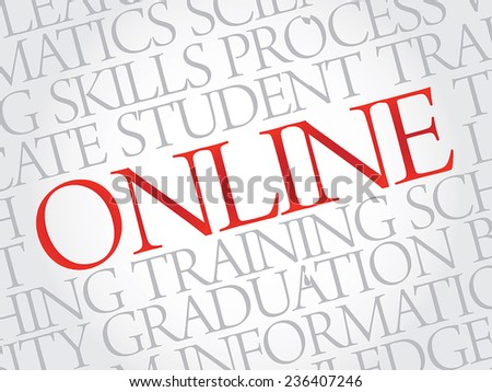 ONLINE. Word education collage on gray vector background - stock vector