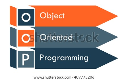 oop arrows concept. Vector illustration of object oriented programming - stock vector