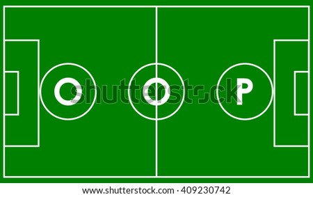 Oop object oriented programming concept. Vector illustration acronym for object-oriented programming on football field - stock vector