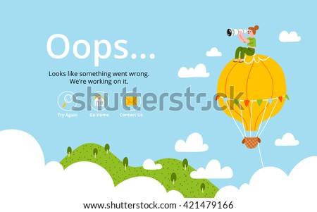 Oops error page with hot air balloon - stock vector