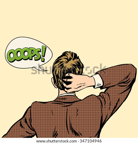 Oops surprised man back view pop art retro style - stock vector