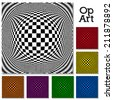 Op art design pattern, black, white, and six colors, concept for hypnosis, unconscious, chaos, extra sensory perception, psychic, stress, strain, optical illusion. EPS8 compatible. - stock vector