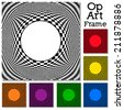 Op art design pattern, black, white, six colors, frame with copy space, concept for hypnosis, unconscious, chaos, extra sensory perception, psychic, stress, strain, optical illusion. EPS8 compatible. - stock vector