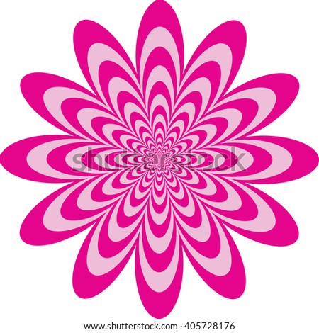 Op Art Flower optical illusion design in pinks. Vector: Colors are grouped for easy editing. - stock vector