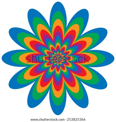 Op Art Flower optical illusion design in primary and secondary colors.  Colors are grouped for easy editing. - stock vector
