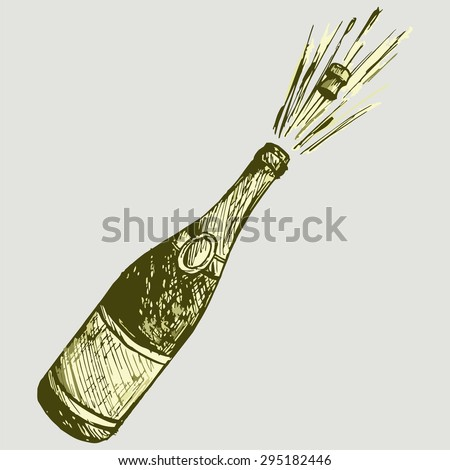 Open a bottle of champagne. Vector Image