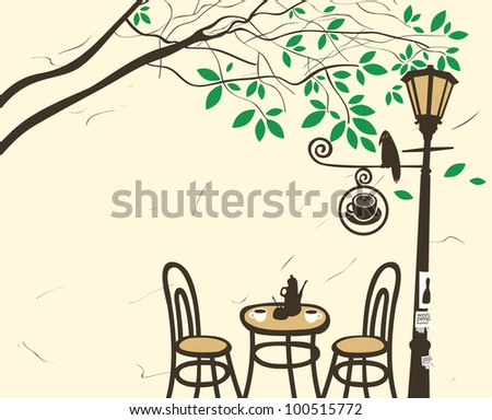 Open-air cafe under a tree with a lantern - stock vector
