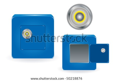 Open and closed Blue Safe with Combination Lock, Isolated on White