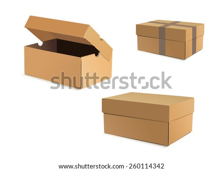 Open and closed cardboard boxes - stock vector