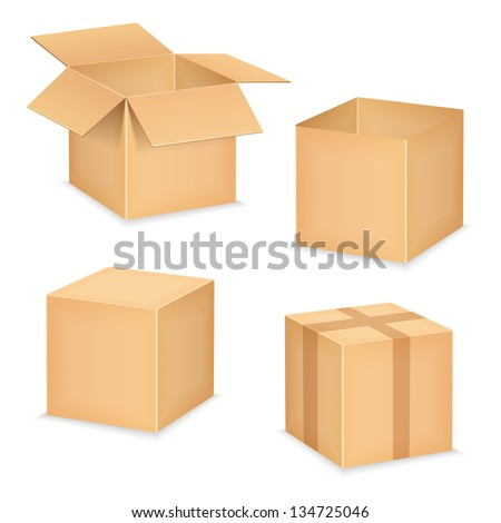 Open and closed cardboard boxes on white background, vector eps10 illustration - stock vector