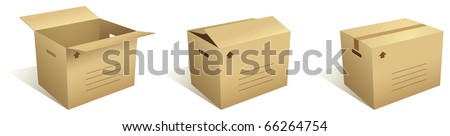 Open and closed cardboard boxes - vector - stock vector
