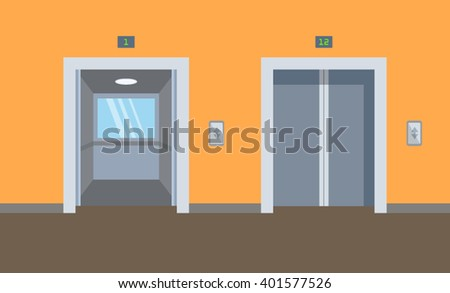 Open and closed chrome metal office building elevator door flat vector illustration. - stock vector