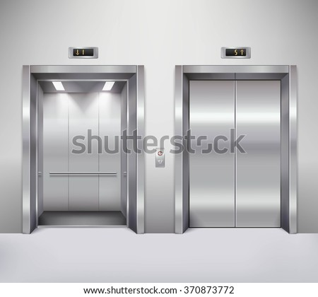 Open and closed chrome metal office building elevator doors realistic vector illustration