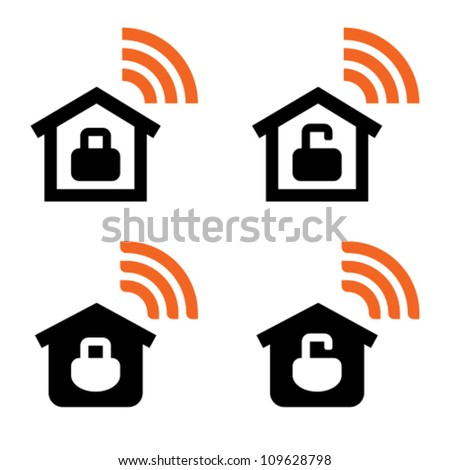 Open Closed Home Wireless Network Icons Stock Vector 109628798 ...