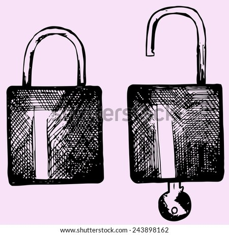 open and closed lock, set,  doodle style - stock vector