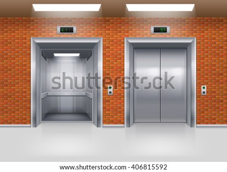 Open and Closed Metal Elevator Doors in a Brick Wall - stock vector