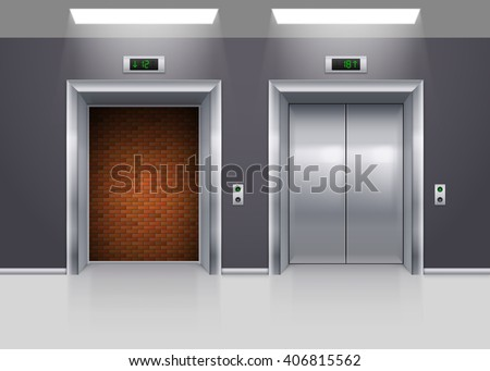 Open and Closed Modern Metal Elevator Doors with Deadlock - stock vector